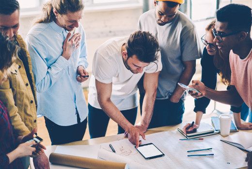 Team of employees working and communicating together